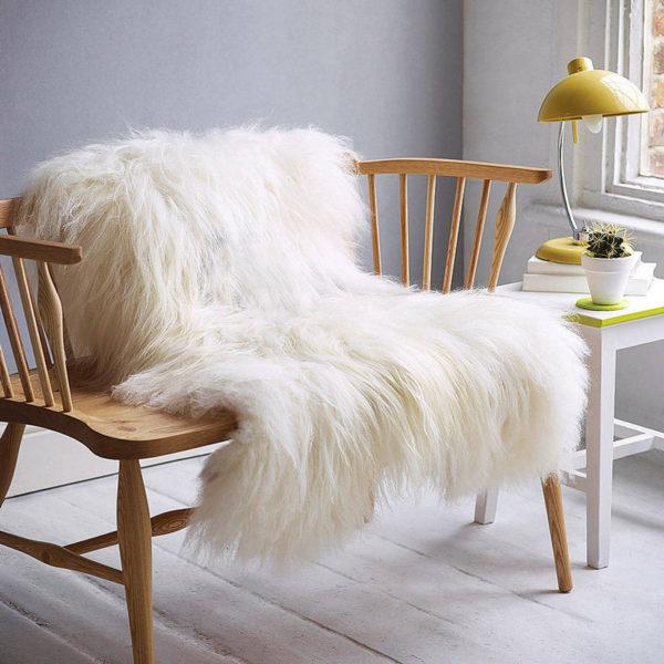 islandska biela ovcia kozusina